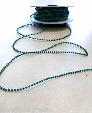 2.5mm GREEN BEADED GARLAND*BY THE 3~YARD* USE FOR WEDDINGS,TREES,CRAFT ,XMAS