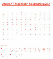 Arabic Overlays Stickers for Mac Keyboard, Labels. Red Characters, Transparent