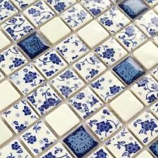 Roses Mosaic Tiles Bathroom Art Wall Flower Tile Blue And White Floral (11PCS)