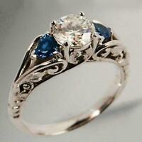 Mode Antikschmuck White & Blue Sapphire Ring Vorschlag Engagement Schmuck C B2T0