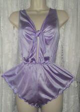 Vtg Purple Sexy Fine Silky Nylon One Piece Teddy Bodysuit Lingerie Nightie M L