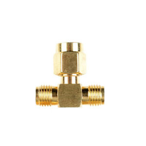 nEW SMA Male to Two SMA Female Triple T RF Adapter Connector 3 Way Splitter