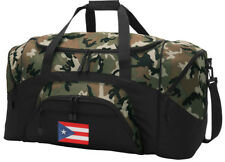 Puerto Rico Flag Duffle Bag CAMO Travel or Gym Duffel OUR MOST POPULAR DUFFEL