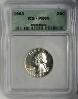 1963-P 25C Washington Silver Quarter PROOF ICG PR69 #3926080203 Scruffy Holder