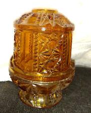 Vtg Glass Amber Fairy Light Lamp Stars and Bars Candle Holder -Gorgeous-2 Pc