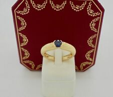 Authentic Vintage Cartier Ellipse Sapphire 18k Yellow Gold Band Ring with Box 51