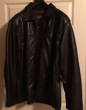 Oakwood Classic Black Leather Jacket Coat Men's Size Large Full-Zip Thinsulate