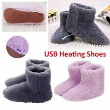 USB Warmer Foot Shoes Plush Warm Electric Slipper Feet Heat Washable Winter US
