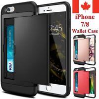 For iPhone 7 & 8 Plus SE Case Wallet Armor Shockproof Card Holder Sliding Cover
