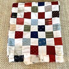 """Antique 1910-1920 Patchwork Quilt Top 69""""x80"""" Cotton 2"""" blocks Cottagecore New"""