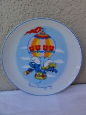 Vintage Smurf Collectable Plate  -  Wallace Berrie  -  Ready To Hang
