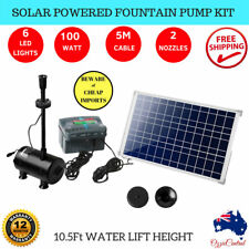 100W Solar Powered Fountain Battery Outdoor Fountains Water Pump LED Light Timer