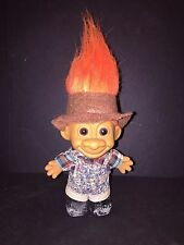 """Russ Vintage Country Troll Doll 5"""" Dungaree Jean Overalls and Boots Orange Hair"""