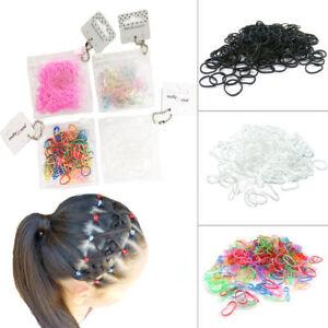 250 Hair Mini Elastic Rubber Bands Bobbles Cornrow Braiding Clear Ponytail Pouch