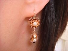 """VICTORIAN 14K ROSE GOLD DANGLE EARRINGS WITH SMALL PEARLS, 7.1 GRAMS, 1.4"""" LONG"""