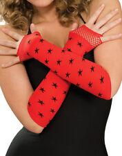 Red Black Star Fingerless Gloves Punk Scene Emo Halloween Accessory Prop
