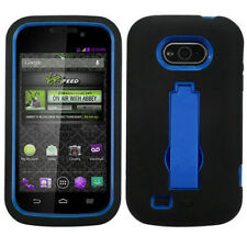 For Virgin Mobile Awe by ZTE IMPACT Hard Rubber Case Cover Kickstand Black Blue