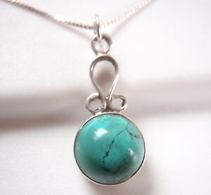 Small Round Turquoise 925 Sterling Silver Necklace Corona Sun Jewelry