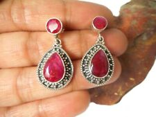 Teardrop Pink  RUBY  Sterling  Silver 925 Gemstone Stud Earrings
