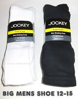 3 Pairs BIG MENS Shoe 12-15 Jockey Cushioned Non Binding Relax Fit Crew Socks