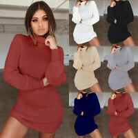Womens High Neck Pullover Sweater Knitwear Ladies Jumper Mini Dress Blouse Top