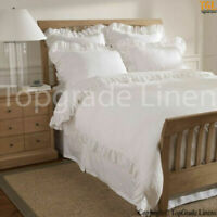 NEW EDGE RUFFLE DUVET COVER SET ALL SIZE WHITE COLOR SOLID 100% EGYPTIAN COTTON