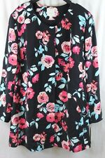 WOMENS SEJOUR BLACK FLORAL JACKET ZIPPER FRONT LINED SIZE 22W NEW W TAGS $149