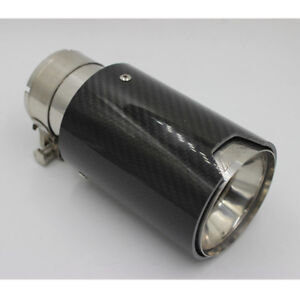 "1x Carbon Fiber Exhaust Tip Muffler Pipe 2.5"" Inlet Universal for BMW Vehicle"