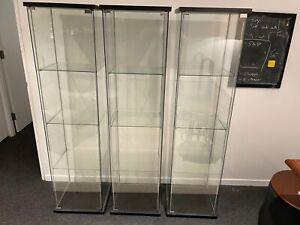 IKEA Detolf glass cabinets (x3)