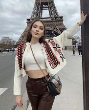 ZARA Ecru Knit Cardigan With Embroidery Size S