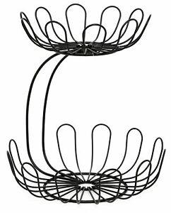 2 Tier Fruit Bowl Vegetable Rack Basket Black Metal Wire Display Stand