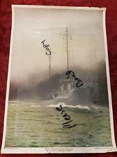 Vintage U.S.S. W.W.II Destroyer -How Destroyers Attack Enveloped in Smoke Screen