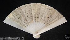 Ziliao 籽料 Old Nephrite Hetian White Jade Hollowed Carved Fan Chinese Antique 718