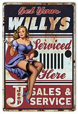 Aged Sexy Jeep Willys Parts And Service Dealer Pin Up Girl 12 x 18 Metal Sign
