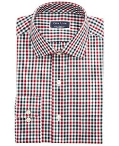 Club Room Mens Dress Shirt Green Red Size 18 Holiday Gingham Check $55 217