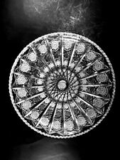 """ESTATE FIND VINTAGE HAND CUT LEAD CRYSTAL QUEEN'S LACE ROUND PLATTER 11+"""""""