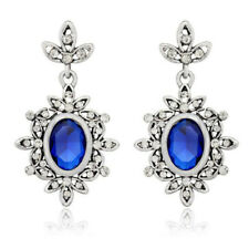 Vintage Style Royal Blue Oval stone Flowers Designed Drop Stud Earrings E1312
