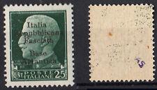 R.S.I. REPUBBLICA SOCIALE ITALIANA BASE ATLANTICA 25 C. 1943 MNH** AUTENTICA AS