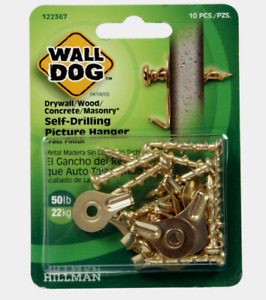 New!! Hillman WALL DOG Self-Drilling Drywall PICTURE HANGER 50 lb. 10 pk 122367