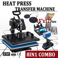 8 in 1 Heat Press Machine Digital Sublimation T-Shirt Mug Plate Hat Printer Kit