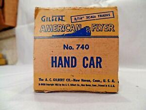 Empty Box for Gilbert American Flyer S Gauge 740 Handcar w/Inserts & Inst. Sheet