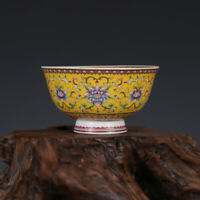 Chinese Qianlong old antique Porcelain yellow famille rose flower tea cup bowl