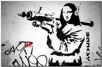 "BANKSY STREET ART CANVAS PRINT Da Vinci Mona Lisa Rocket 24""X 16"" poster"