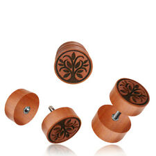 PAIR ROSE WOOD FAKE TREE OF LIFE LASER CUT CHEATER PLUGS 18g PLUG 00G HEADS