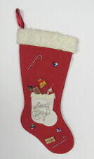 VTG 1950s FELT CHRISTMAS STOCKING RED WHITE FAUX FUR TRIM CANDY CANES GIFTS