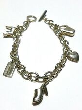 RARE VINTAGE COACH STERLING SILVER ESTATE CABLE CHARM BRACELET DOG SHOE HEART