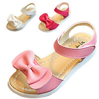Summer Kids Baby Girl Open Toe Bowknot Sandals Soft Leather Strap Princess Shoes