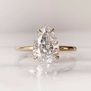 2.00 Ct Pear Cut Moissanite Solitaire Engagement Ring In 14k Rose Gold Plated