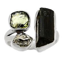 Black Tourmaline Point & Moldavite 925 Silver Ring Jewelry s.5 BR84112