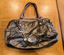 Fossil Handbag Metallic Copper Brown Genuine Leather with Strap for Crossbody